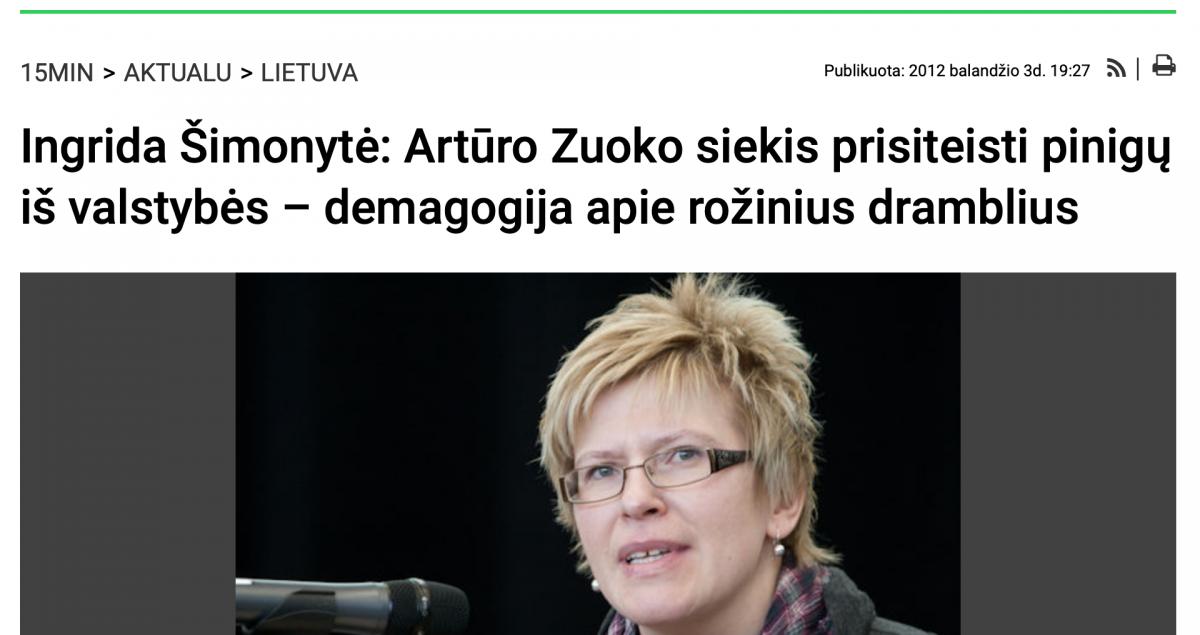 A. Zuokas: Kodėl aš balsuosiu už Ingridą Šimonytę...